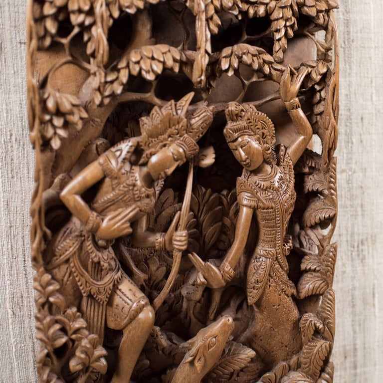 Framed Balinese Carved Wall Panel, Midcentury Decorative Art In Excellent Condition For Sale In Hele, Devon, GB