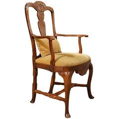 Antique Elbow Chair Large Oak Ash Elm, Study Desk, Georgian Armchair, circa 1800