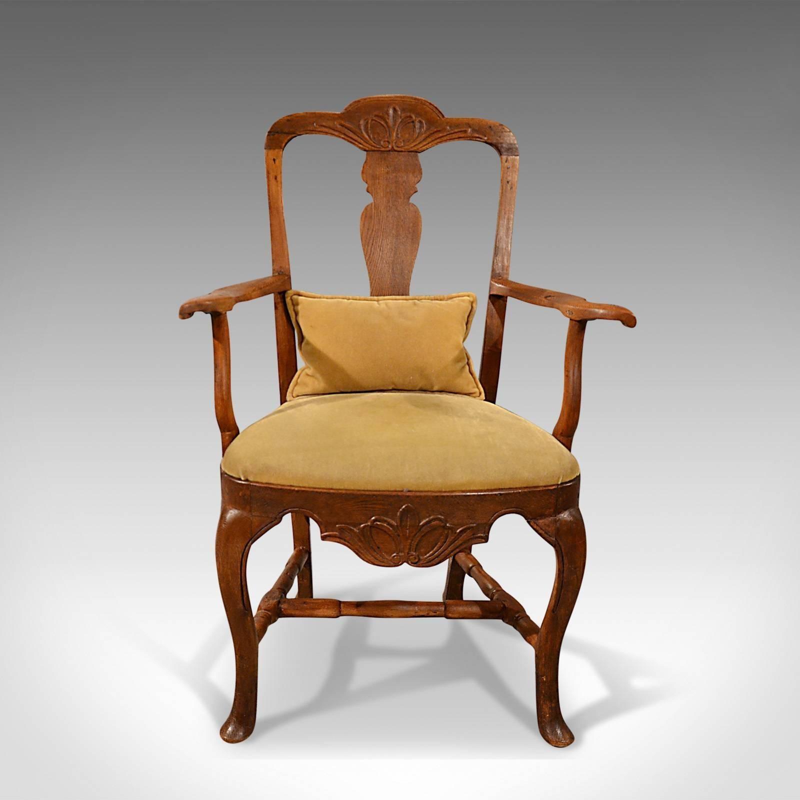 This is an antique elbow chair. A large ex&le in oak ash and elm & Antique Elbow Chair Large Oak Ash Elm Study Desk Georgian Armchair ...