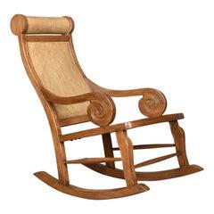 Vintage Rattan Rocking Chair, Hardwood Recliner, Midcentury, circa 1970s