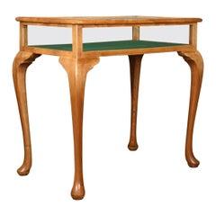Vintage Bijouterie Table, 20th Century Display Case, Light Mahogany, 1993