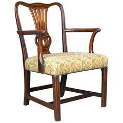 Antike Ellenbogen Stuhl, Englisch, Georgisch, Mahagoni, offenen Sessel, ca. 1780