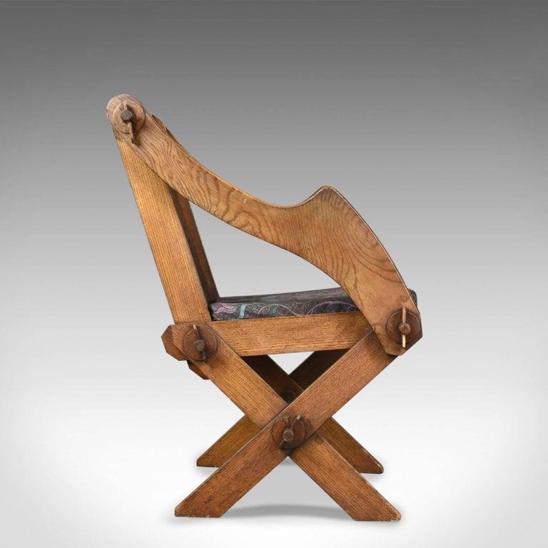 Victorian Antique Glastonbury Chair, English, Tudor Revival, Hall Seat, circa 1900 For Sale