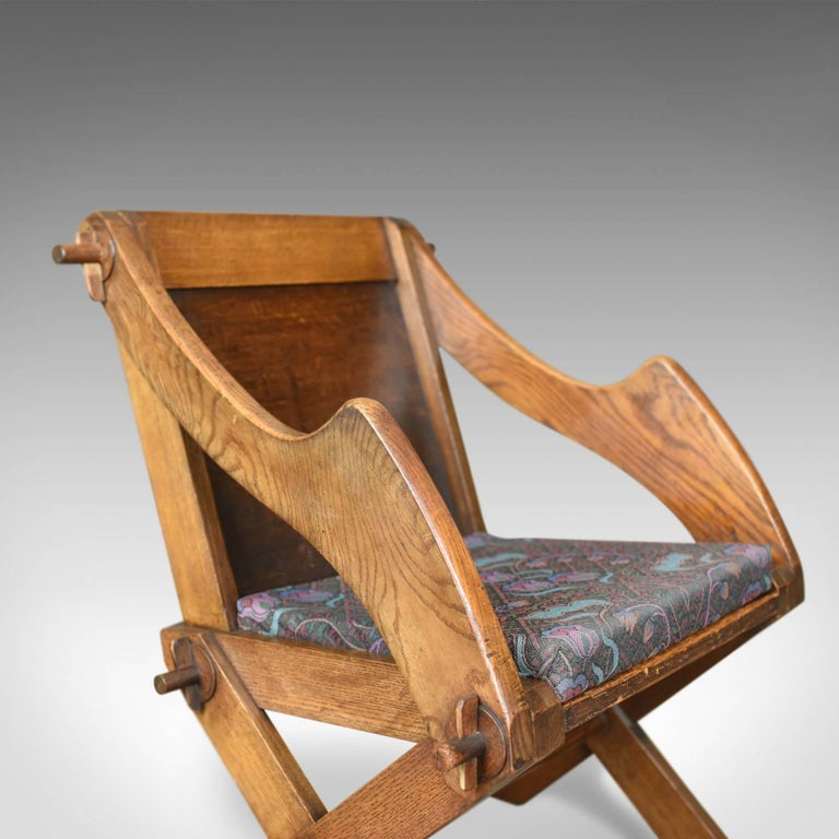 Oak Antique Glastonbury Chair, English, Tudor Revival, Hall Seat, circa 1900 For Sale