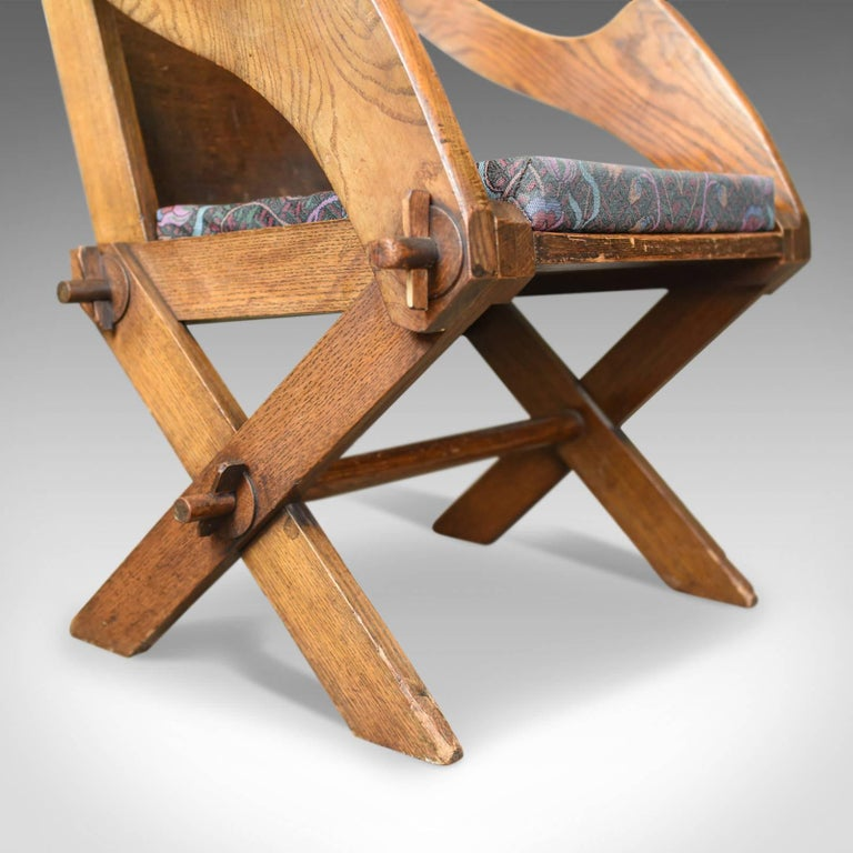 Antique Glastonbury Chair, English, Tudor Revival, Hall Seat, circa 1900 For Sale 1