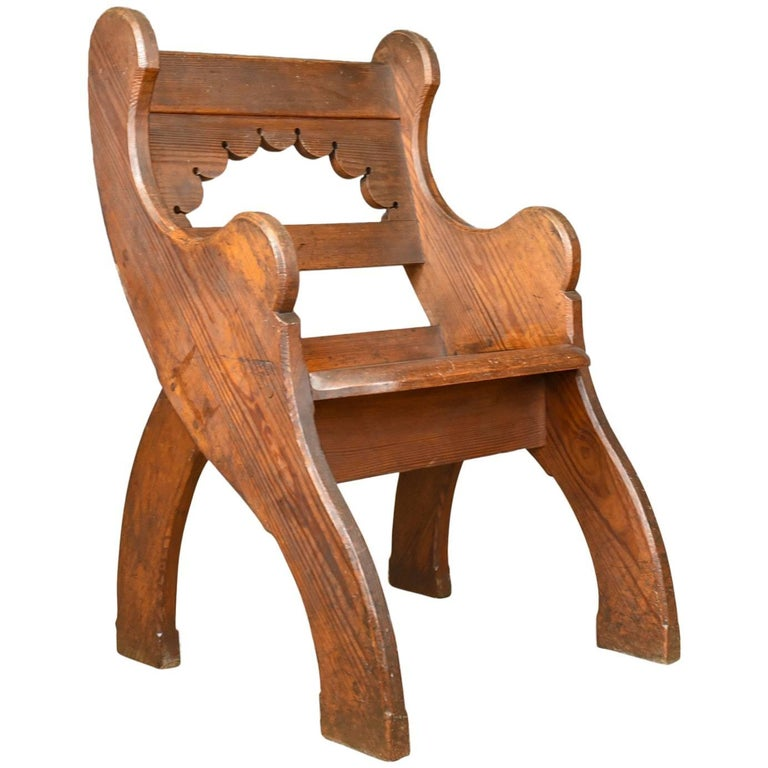 Antique Hall Chair, English, Victorian Pitch Pine Armchair, Ecclesiastical For Sale