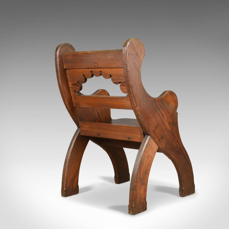 19th Century Antique Hall Chair, English, Victorian Pitch Pine Armchair, Ecclesiastical For Sale