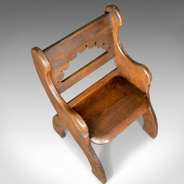 Antique Hall Chair, English, Victorian Pitch Pine Armchair, Ecclesiastical For Sale 1