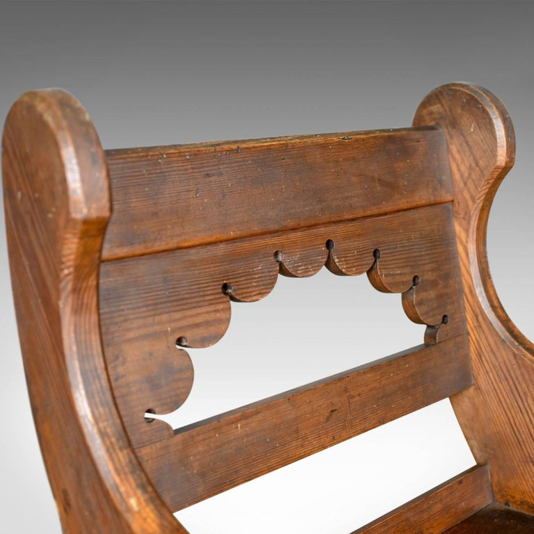 Antique Hall Chair, English, Victorian Pitch Pine Armchair, Ecclesiastical For Sale 2