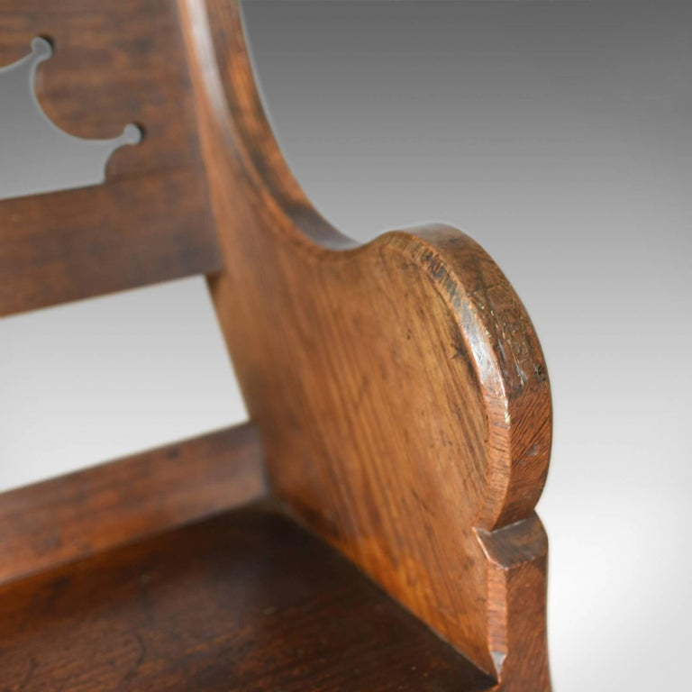Antique Hall Chair, English, Victorian Pitch Pine Armchair, Ecclesiastical For Sale 4