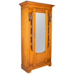 Antique Single Wardrobe, Satinwood, English, Compactum, Art Nouveau, circa 1920