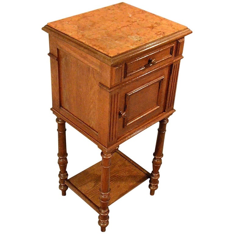 Antique Small Cabinet Side Table Quality French Oak Art Deco For
