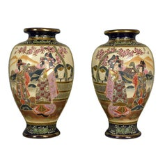 Pair of Japanese Baluster Vases, Ceramic Urns, Late 20th Century