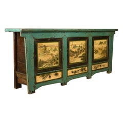 Sideboard, Chinese Painted Buffet, 19th Century Revival, Mid-Late 20th Century