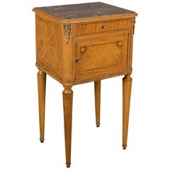 French Antique Bedside Cabinet, Marble Top Nightstand, circa 1890
