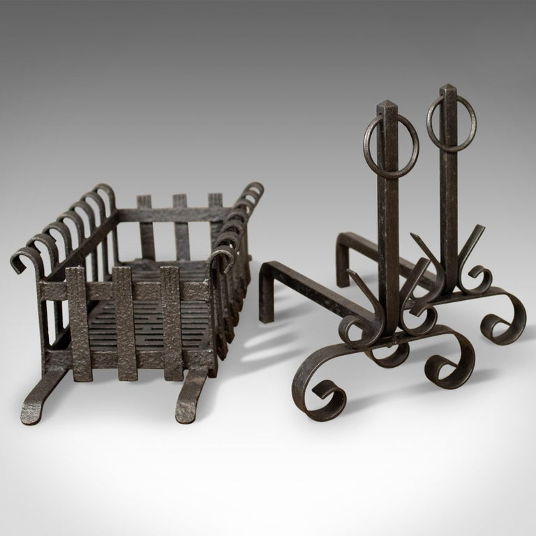 Antique Fire Basket on Andirons, Fire Dogs, English, Fireplace Grate, circa 1900 2
