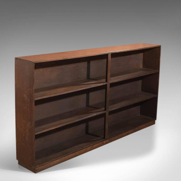 mid20th century open bookcase english oak 3