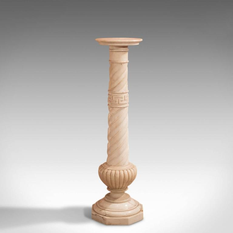 Antique Stand Victorian Alabaster Marble Torchere For