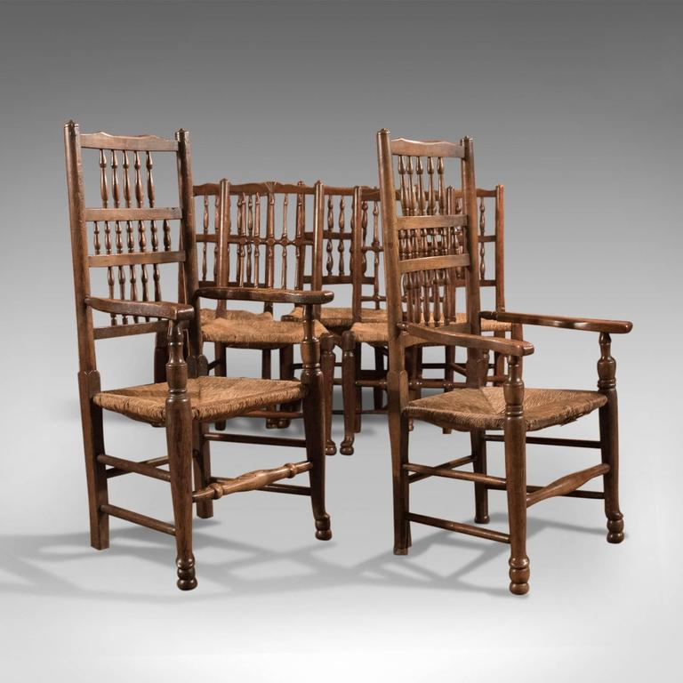 Ash Harlequin Set of Seven Antique Spindle Back Dining Chairs, circa 1800 For Sale