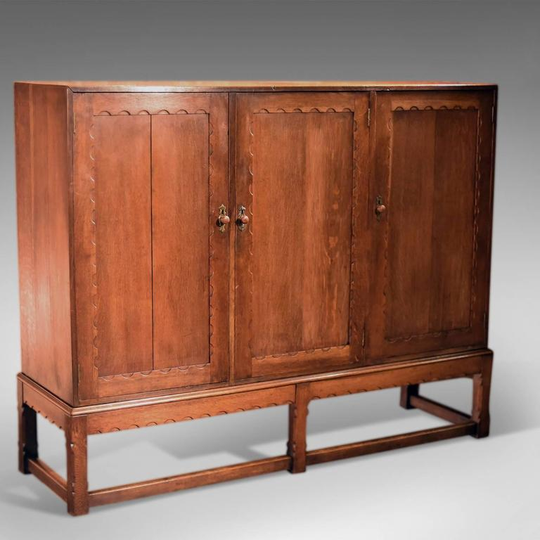 This is an antique, English, Victorian oak larder on stand dating to circa  1900 - Arts And Crafts Oak Larder Antique Cabinet, Circa 1900 For Sale At