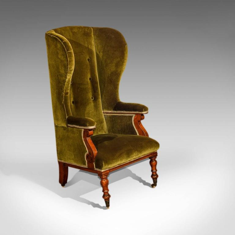 Antique Wing Back Chair Victorian Green Velvet Circa