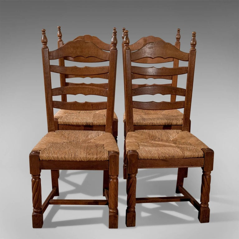French Kitchen Chairs: Quality Set Of Four French Solid Oak Country Kitchen
