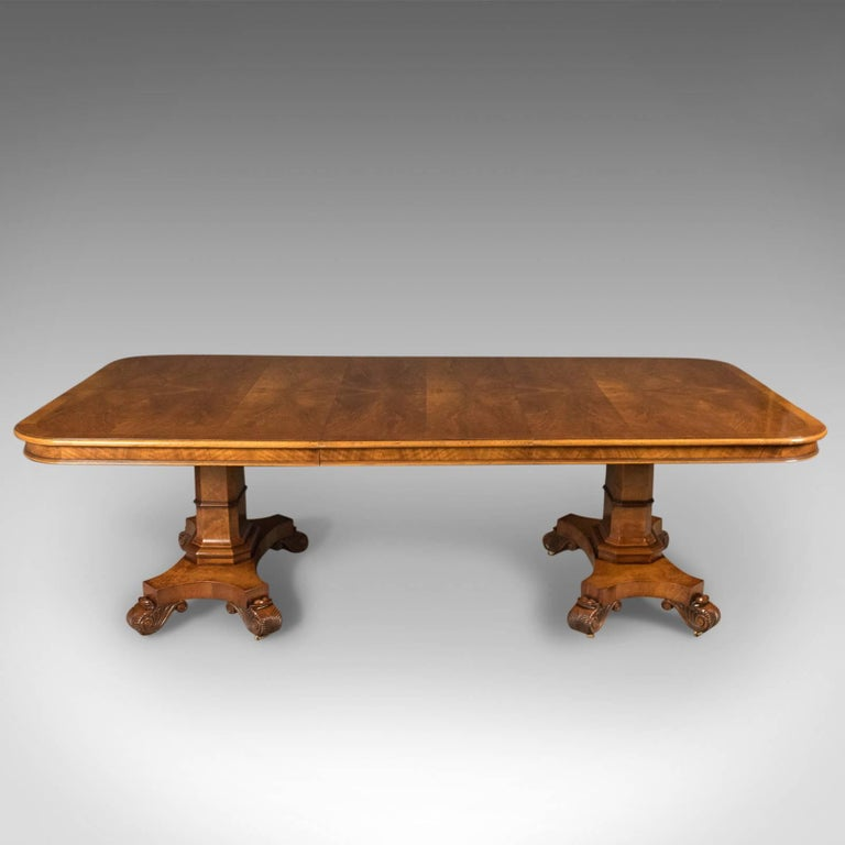 Large Extending Walnut Dining Table 6 12 Seat Late 20th