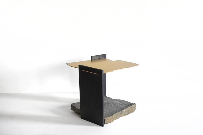 Post-Modern Missisquoi 04 End Table in Gold Plating, Ash and Stone by Simon Johns For Sale