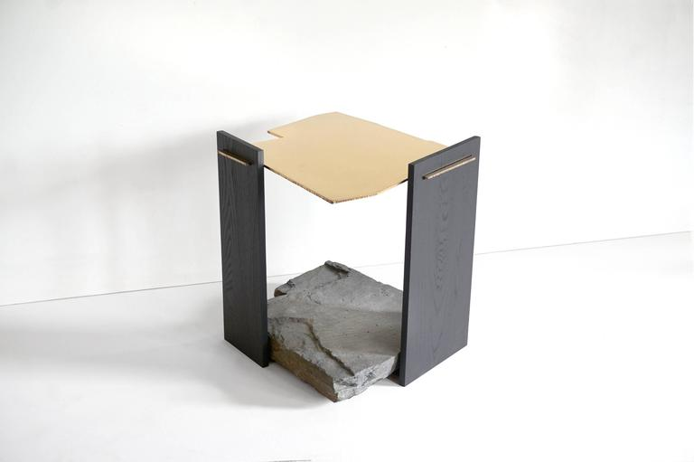 Canadian Missisquoi 04 End Table in Gold Plating, Ash and Stone by Simon Johns For Sale