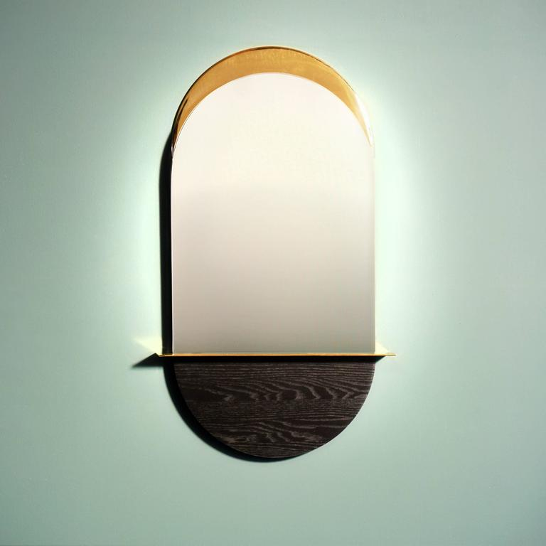 Post-Modern Solis Mirror, Small, in Lacquered Brass and Blackened Ash by Simon Johns For Sale