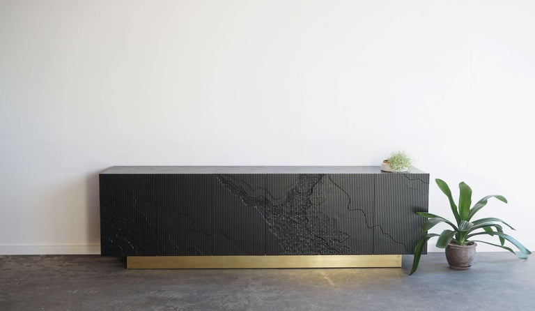Shale Credenza in Blackened Ash on Brass Base by Simon Johns For Sale 2