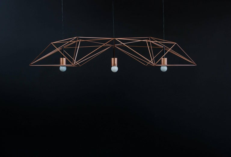 Modern Crystalline Light in Satin Copper or Brass, Version by Simon Johns For Sale