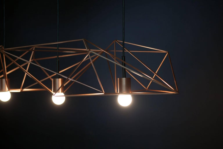 Canadian Crystalline Light in Satin Copper or Brass, Version by Simon Johns For Sale