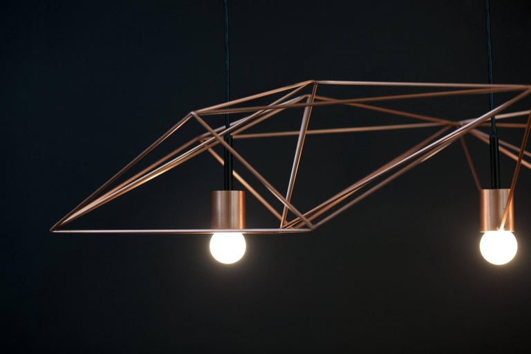 Plated Crystalline Light in Satin Copper or Brass, Version by Simon Johns For Sale