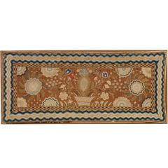 Early Yarn-Sewn Wool Rug with Pineapple and Floral Motif