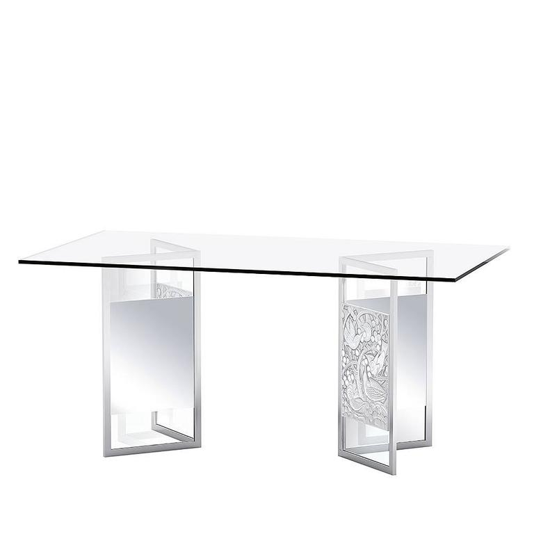 Lalique Crystal Desk or Dining Room Table with Merles and Raisins Panels