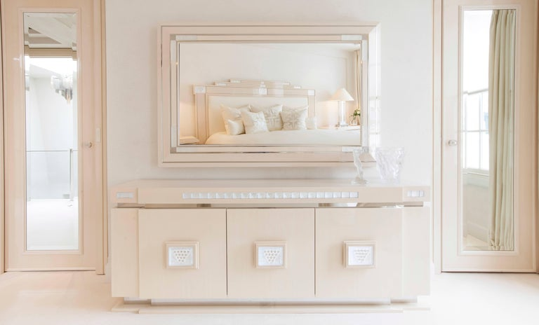 Credenza La Maison : Lalique maison ivory ash sideboard or credenza with raisins crystal