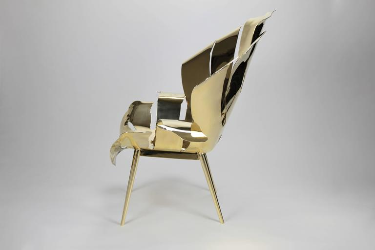 Organic Modern The Philodendron Leaf Lounge Chair in Solid Brass by Christopher Kreiling For Sale