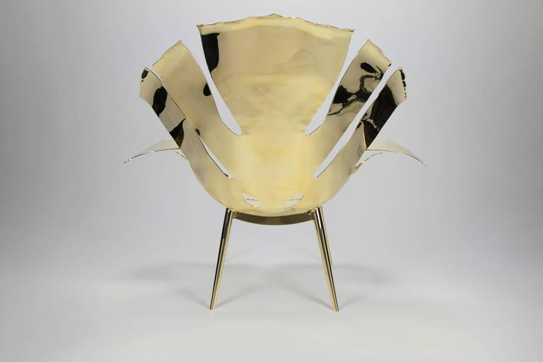 American The Philodendron Leaf Lounge Chair in Solid Brass by Christopher Kreiling For Sale