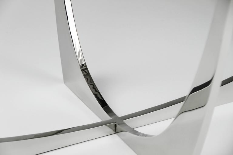 Polished  DOUBLE FROND COFFEE TABLE in Stainless Steel by Christopher Kreiling Studio For Sale