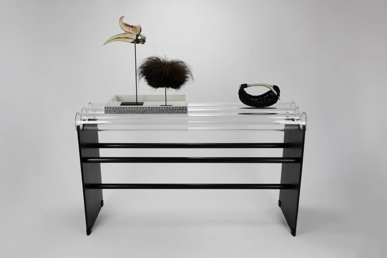 Industrial Museum Console in Glass and Steel by Christopher Kreiling For Sale