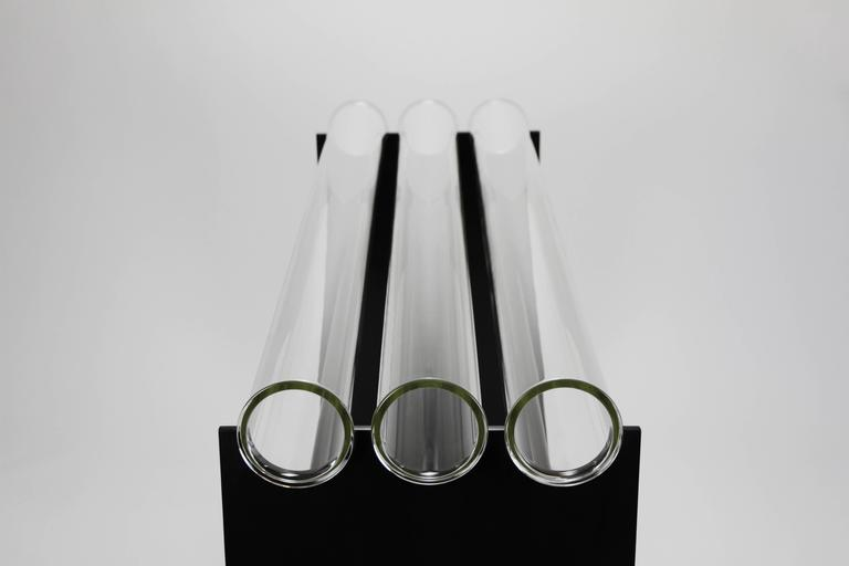 Molded Museum Console in Glass and Steel by Christopher Kreiling For Sale