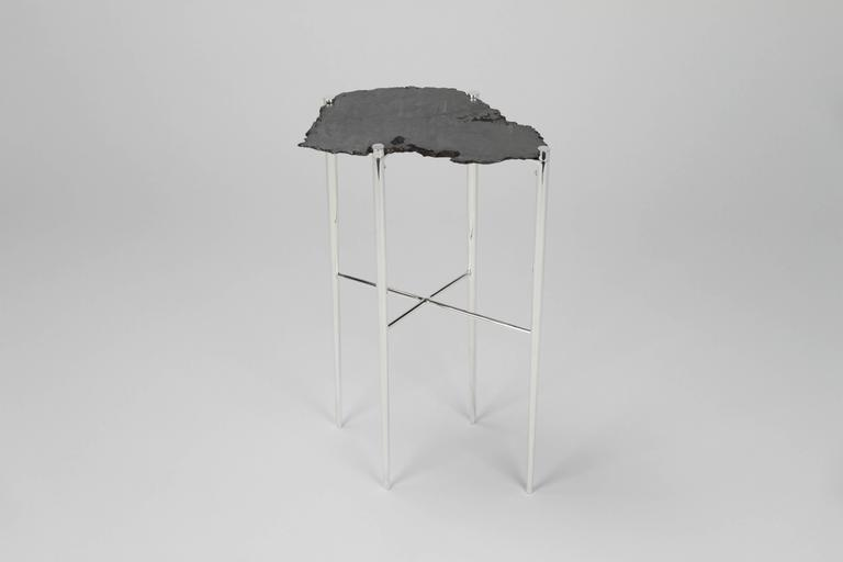 Contemporary Meteorite Cocktail Tables in Silver Plated Brass by Christopher Kreiling For Sale
