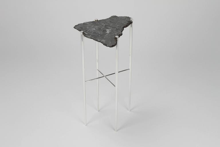 American Meteorite Cocktail Tables in Silver Plated Brass by Christopher Kreiling For Sale