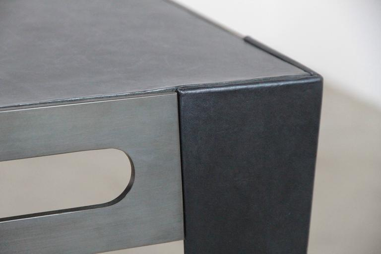 Patinated  ICON Table in patinated steel & leather, 2020 by Christopher Kreiling Studio For Sale