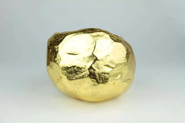 22-Karat Gold Gilt Crystal Geode Sculpture by Christopher Kreiling In New Condition For Sale In Pasadena, CA