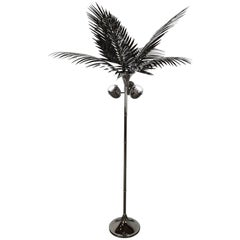 California King Palm Tree Floor Lamp in Stainless Steel by Christopher Kreiling