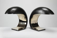 Pair of Nautilus Study Table Lamps in Bronze by Christopher Kreiling