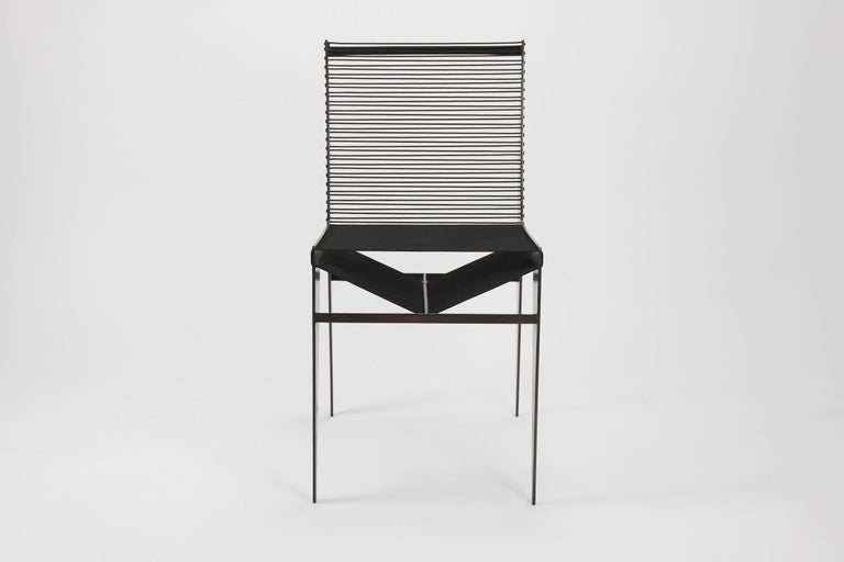 Patinated Set of Six Icon Chairs in Steel and Rope by Christopher Kreiling, Contemporary For Sale