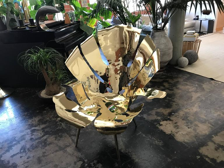 Contemporary The Philodendron Leaf Lounge Chair in Solid Brass by Christopher Kreiling For Sale